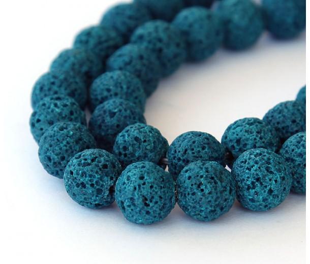 Lava Rock Beads, Blue, 10mm Round