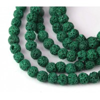 Lava Rock Beads, Medium Green, 6mm Round