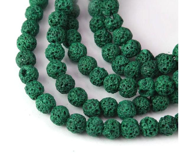 Lava Rock Beads, Medium Green, 6mm Round