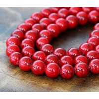 Magnesite Beads, Bright Red, 8mm Round