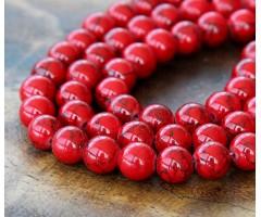 Magnesite Beads, Bright Red, 8mm Round