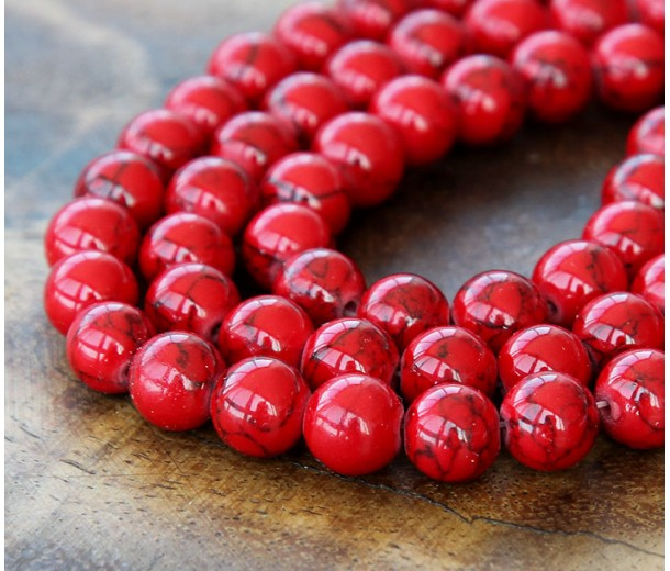 Magnesite Beads, Bright Red, 6mm Round