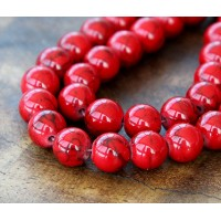 Magnesite Beads, Bright Red, 10mm Round