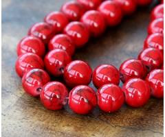 Magnesite Beads, Bright Red, 10mm Round
