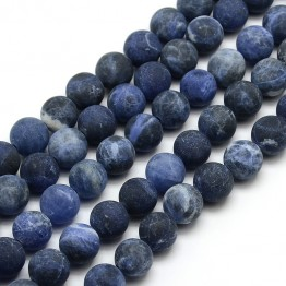Matte Sodalite Beads, 6mm Round