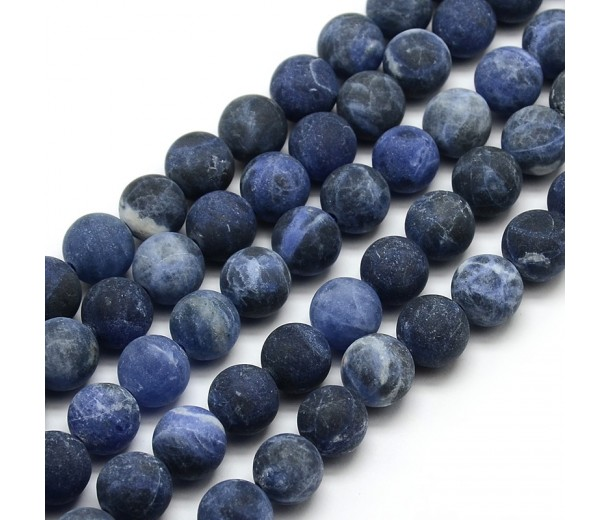 Matte Sodalite Beads, 10mm Round