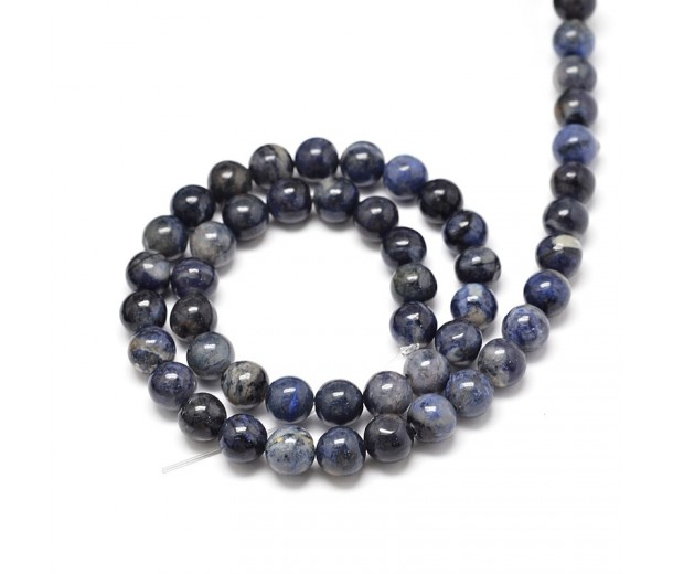 Sodalite Beads, Blue, Gray and Brown, 8mm Round