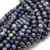 -Sodalite Beads, Blue, Gray and Brown, 8mm Round
