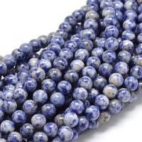 Sodalite Beads, Blue and White, 8mm Round