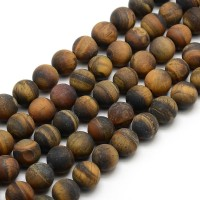 Matte Tiger Eye Beads, Natural, 10mm Round