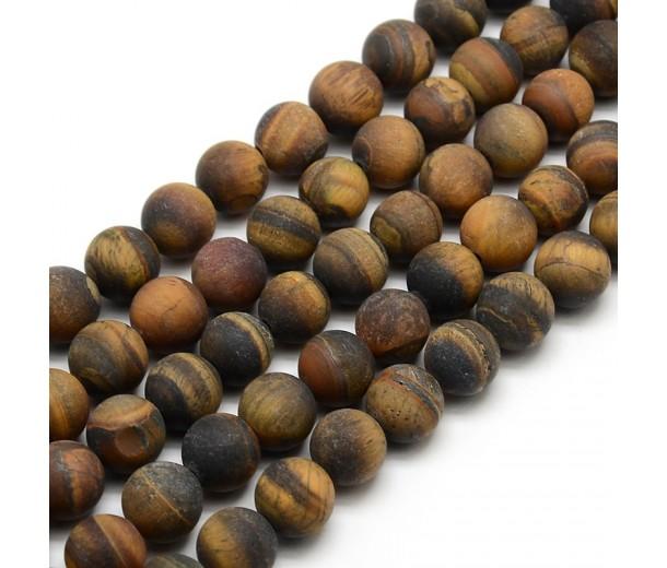Matte Tiger Eye Beads, Natural, 8mm Round