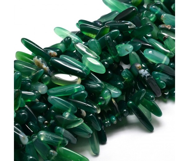 Agate Stick Beads, Green, 8-30mm