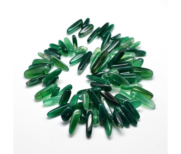 Agate Stick Beads, Natural Green, 8-30mm