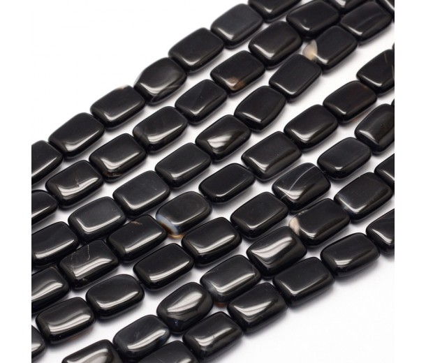 Black Agate Beads, 14x10mm Rectangle