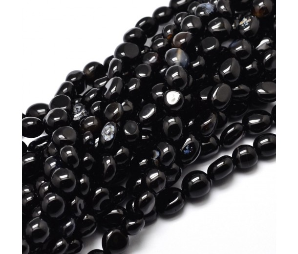 Agate Beads, Black, Small Nugget