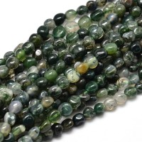 Moss Agate Beads, Natural, Green, Small Nugget
