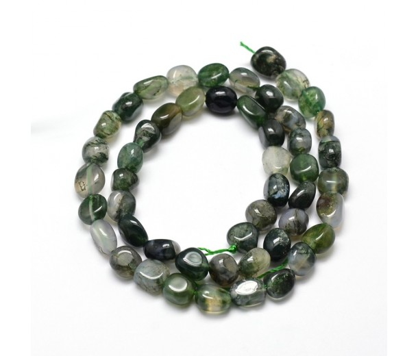 Moss Agate Beads, Green, Small Nugget