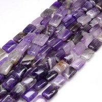 Amethyst Beads, C Grade, 18x12mm Rectangle