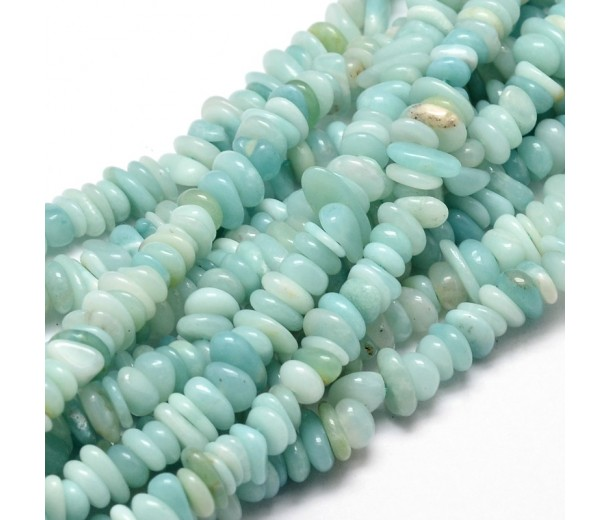 Amazonite Beads, Natural, Light Green, Small Chip