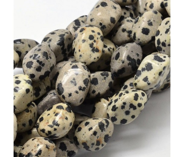 Dalmatian Jasper Beads, Cream, Large Nugget