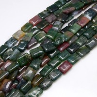 Indian Agate Beads, Multicolor, 18x12mm Rectangle