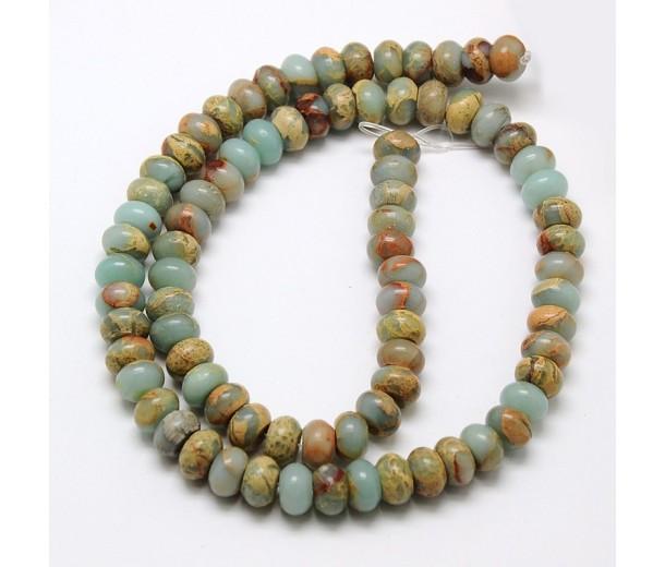 Snakeskin Jasper Beads, 5x8mm Smooth Rondelle