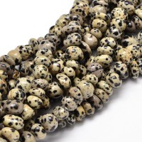 Dalmatian Jasper Beads, Cream, Medium Nugget
