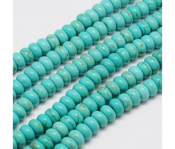 Magnesite Beads, Light Blue, 6x4mm Smooth Rondelle, 15 Inch Strand