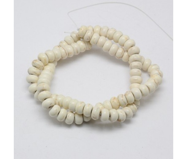 Magnesite Beads, Cream, 6x4mm Smooth Rondelle