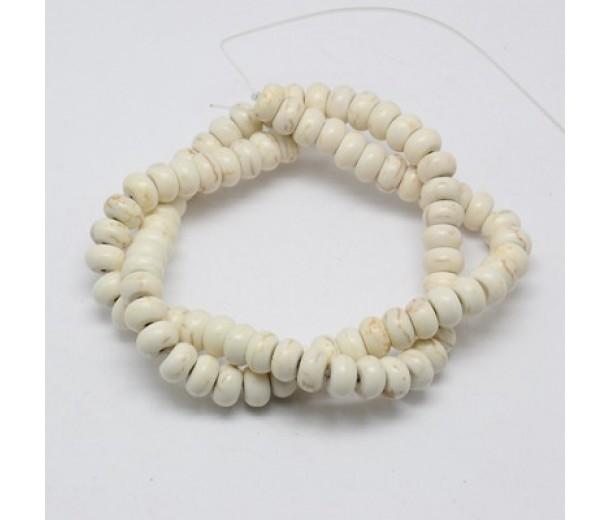 Magnesite Beads, Cream, 6x4mm Smooth Rondelle