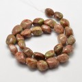 Unakite Beads, Pink, Large Nugget