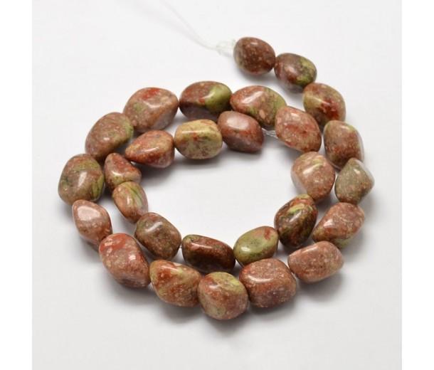 Unakite Beads, Pink, Large Nugget