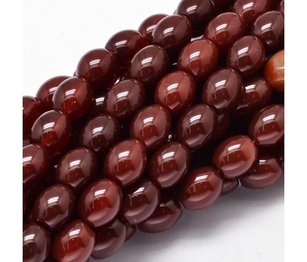 Dark Red Agate Beads, 10x8mm Barrel