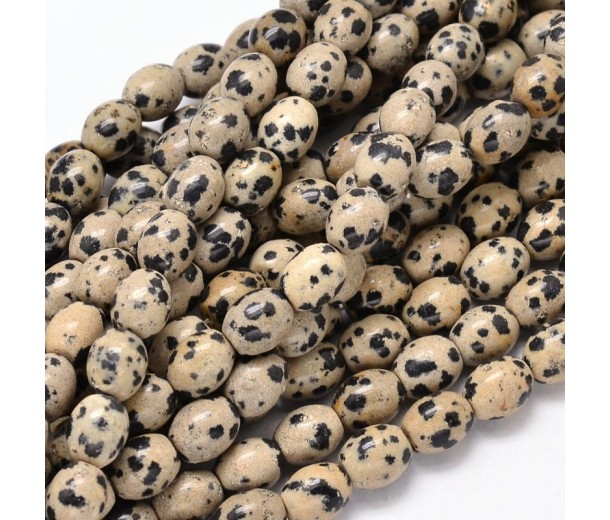 Dalmatian Jasper Beads, Natural, 10x8mm Barrel