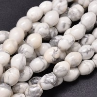 Howlite Beads, White, 10x8mm Barrel