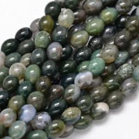 Moss Agate Beads, 10x8mm Barrel