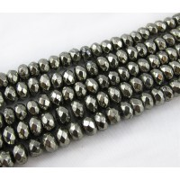 Pyrite Beads, 3x4mm Faceted Rondelle