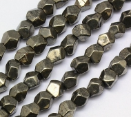 Pyrite Beads, 6mm Faceted Nugget