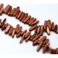 Goldstone Stick Beads, 13-22mm