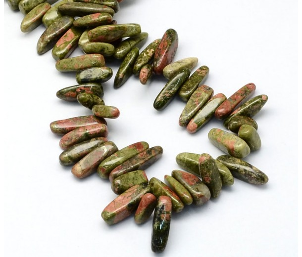 Unakite Stick Beads, Green, 13-22mm
