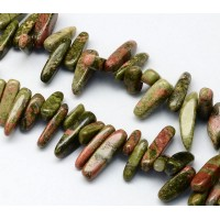 Unakite Stick Beads, Green, 13-22mm