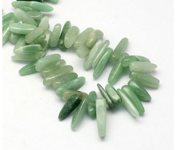 Green Aventurine Stick Beads, 13-22mm