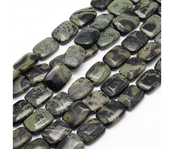 Rhyolite Jasper Beads, 16x12mm Rectangle