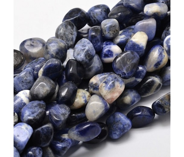 Sodalite Beads, Blue and White, Large Nugget