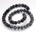 Matte Snowflake Obsidian Beads, 8mm Round