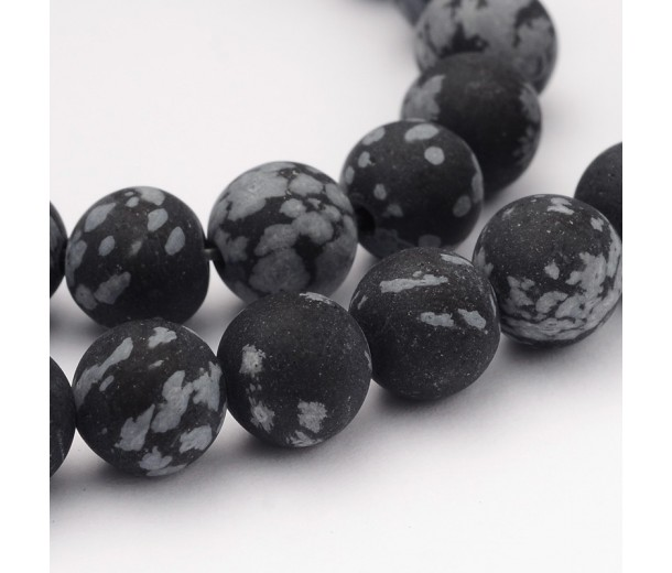 Matte Snowflake Obsidian Beads, 8mm Round