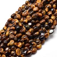 Tiger Eye Beads, Brown, Small Nugget