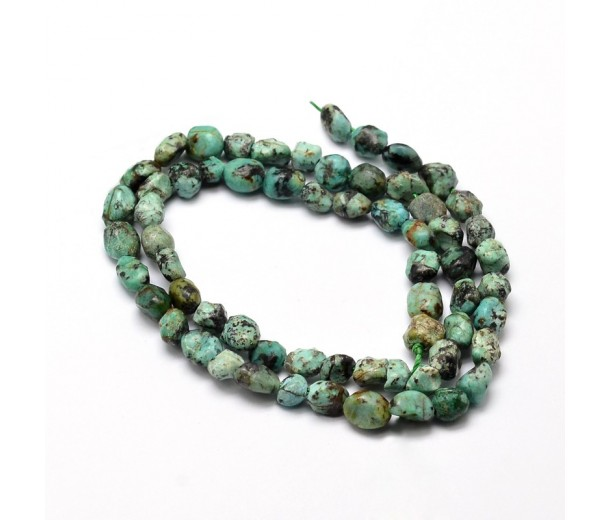 African Turquoise Beads, Teal, Small Nugget