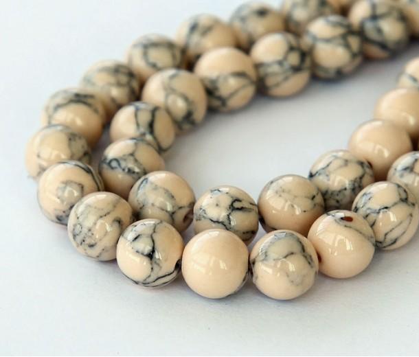Magnesite Beads, Light Oatmeal, 10mm Round