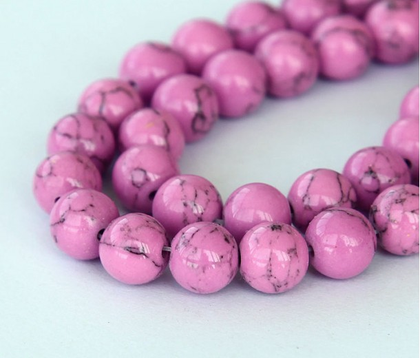 Magnesite Beads, Orchid, 10mm Round